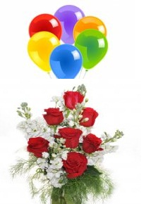 6 Air balloons 7 Red Roses bouquet