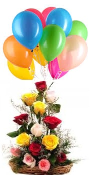 10 coloured Air filled balloons 12 Mix Roses basket