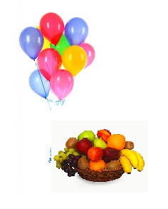10 Air filled balloons with 2 Kg Fresh fruits basket