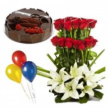 3 Air Balloons with 1/2 Kg Chocolate Cake and Basket of 4 White Lilies 20 Red roses