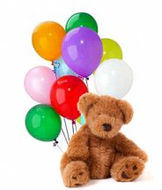 10 Plain Air Mix colour balloons with 10 Inches Teddy bear