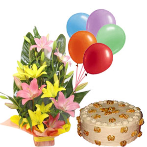 Lilies and Butter scotch cake with balloons