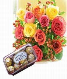 16 pieces ferrero rocher with 12 mix roses