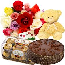 50 Red Roses Teddy 1 2 Kg Cake16 Packs Ferrero Rocher