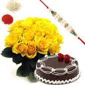 25 roses basket with 1kg cake and rakhi