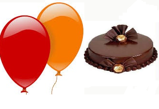 2 Helium Gas Filled Balloons 1/2 Kg Chocolate Cake