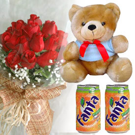 2 cans soft drink teddy bear and dozen red roses