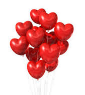 10 gas heart balloons