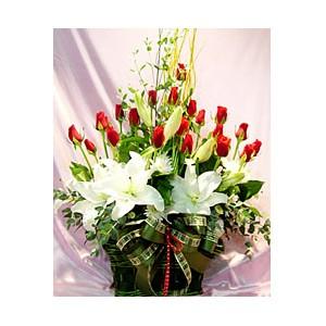 White Lilies red Roses basket
