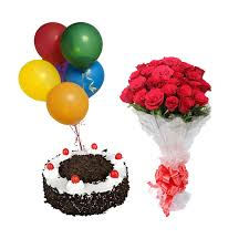 20 red roses hand tied with 6 air balloon and 1/2 kg black forest cake