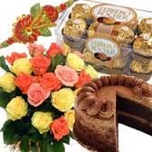 3 rakhis with 1 kg cake, 16 ferrero rocher and 12 roses bouquet