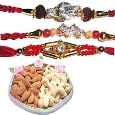 1 rakhi with celebration and 12 flowers bouquet