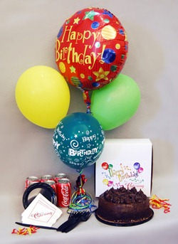6 Coke Cans 1/2 kg chocolate cake 4 Balloons