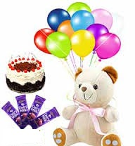 6 inch teddy with 12 air balloons 1/2 kg black forest cake and 4 chocolates